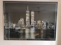 New York Sky Line, Print, Black and White, Glazes & Framed. 120cm wide and 92cm.
