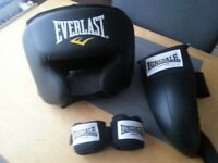 Head guard groin guard and hand wraps