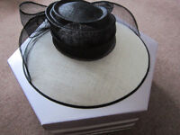 Large Black & winter white 'Hat Box' hat + box -only worn once for short time