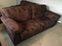 3 seater brown fabric sofa and 2 large chairs ..