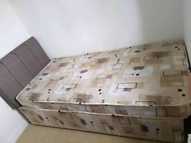 Single divan bed, mattress, headboard and bedding