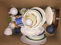 variety of pottery,pans,plates and saucers