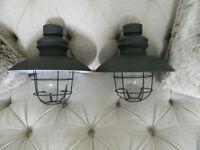2 Grey Industrial Fisherman style lights