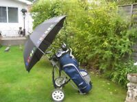 LADIES RIGHT HAND BEN SAYERS GOLF CLUBS IN BAG WITH TROLLEY