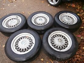 Set of 5 BMW Alloy Wheels with good Tyres Bargain £100