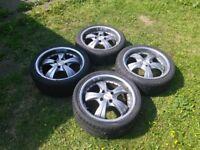 """Dezent 17"""" Alloy Wheels with Tyres, Set of 4"""