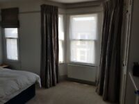 Silver full length curtains with matching blind