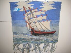 Two Handcrafted Wall Panels - Sailing Boat and Dinghies in the Harbour - £10.00 each