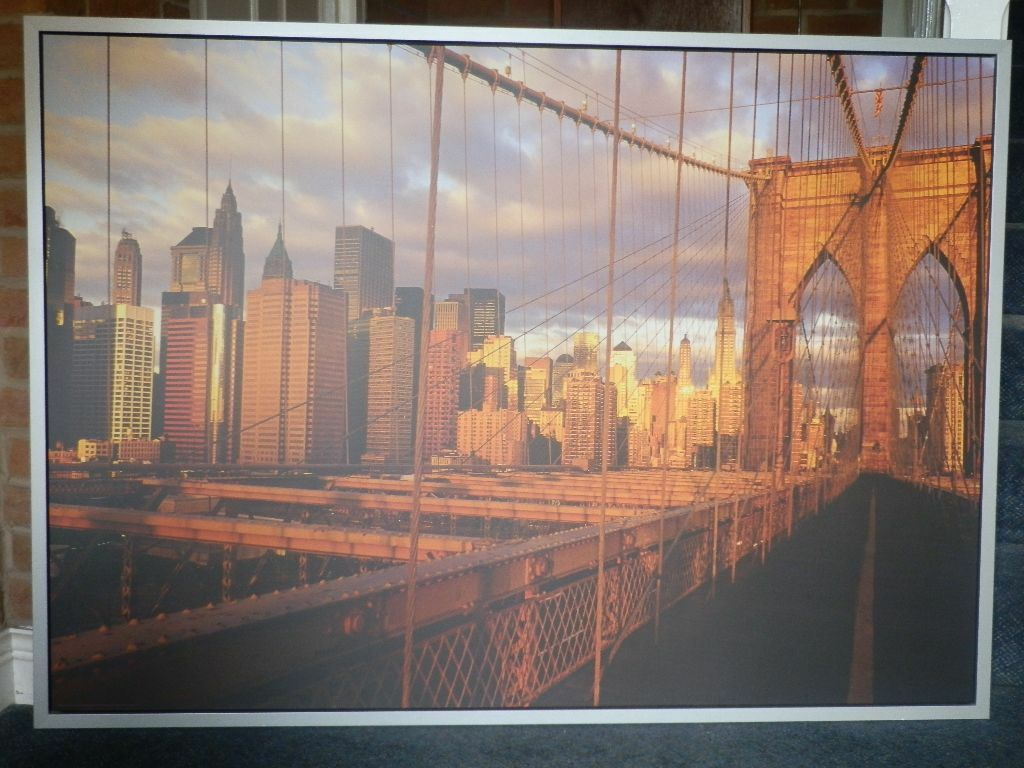 ikea vilshult series large framed picture of dawn over a new york bridge in liverpool city. Black Bedroom Furniture Sets. Home Design Ideas