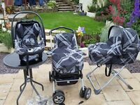 Mamas & Papas Travel system. Car seat + iso fix , buggy, pram/carrycot, stand, & rain covers