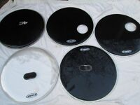 """Drums - Evans 22"""" Bass Drum Heads - 5 Available"""
