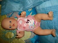"ZAPF CREATION MY FIRST14"" BABY BORN INTERACTIVE KICKS CRIES BABBLES HAS BATTERIES VGC AS NEW"