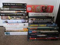 Collection of 25 War Military Books Lot Battle World War II Navy Civil Aircraft