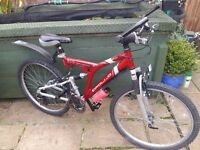 Adults aluminium full suspension mountain bike in superb condition
