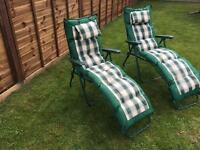 Luxury fold up loungers (pair)