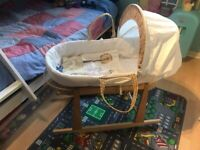 Moses basket with stand and linen etc.