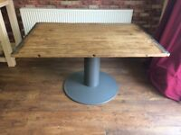 Solid Beech Wood Table with grey base - Heavy - Can Deliver - Top comes off for transporting