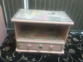 Pink unicorn storage table.