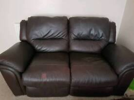 Two seater sofa - recliner leather settee