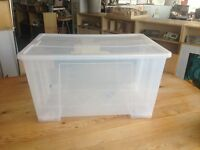 Hardwearing Clear Plastic Storage boxes with lid