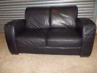 Genuine Natuzzi Italian Black Full Leather 2-seater Sofa