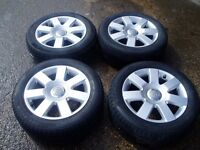 "Audi TT Alloy Wheels With Excellent Tyres. 16"". 5x100. 205/55/16. Fit A3 A4."