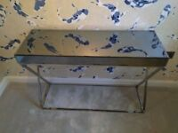 Mirrored top with chrome legs/base console table, office desk. Cost £225.