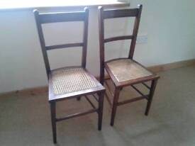 PAIR OF WOODEN CANE CHAIRS EDWARDIAN VINTAGE INLAY STRINGING BEDROOM HALL OCCASIONAL USE ALL SOUND