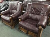 As new leather 3 11 sofa set in an oak frame