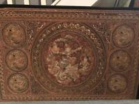 UK delivery available. Beautiful Large Old Siamese Embroidered Panel.