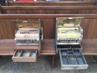 National cash register x 2 antique brass