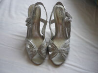 Silver high-heeled sandal size 7 wide fit