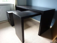 Large desk with pull-out panel + drawer unit