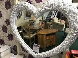 Ornate Large white heart mirror new