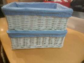 2 x lined wicker boxes