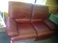 natuzzi SOFA 2 seater (2 avail- 300 for pair, 175 each) - with recliner, Red/Brown/Oxblood leather