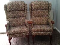 TWO TAPESTRY EFFECT ARMCHAIRS