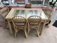 Dining table and chairs glass and bamboo £120 ONO