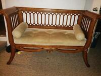 Settee for entry way or living room, solid wood frame
