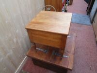 ++REDUCED++ ANTIQUE SATINWOOD LIFT TOP STOOL/SEWING BOX 18ins X 18ins X 18ins
