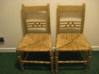 PAIR ANTIQUE VINTAGE OLD c. ELM CHAIRS*HAND MADE**stg 45 ono**collect Chelsea London SW10*