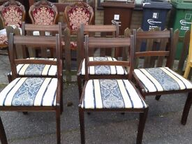 5 dining chairs,mahogany,Regency style,clean cushion,1 chair broken