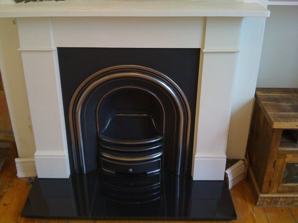 Beautiful cast iron fire and limestone surround