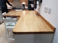 Used Solid Oak Breakfast Bar with Units