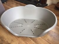 Silver/grey plastic dog bed for sale great condition