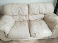 Leather cream sofas