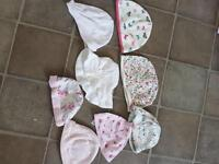 Baby hats, bibs, shoes, mittens and muslins