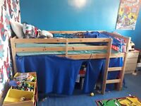 childrens mid sleeper bed with mattress
