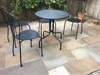 Patio furniture set - round outdoor table and four chairs