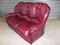 Burgundy Italian Leather 3-seater Sofa (Suite)